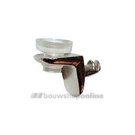Trend glasplaatschapdrager inboordiameter 5 mm nikkel met rubber zuignap
