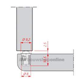 Hekna deurbuffer 8 x 10.5 mm inboor huls boring 8 mm