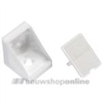 Berma hoekverbinder 18 mm met afdekplaat wit