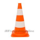 verkeerskegel/pion   50 cm oranje met witte banden