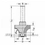 JSO-Trasco afrondprofielfrees HW Radius 15.0 mm met lager 14 mm schacht 8