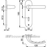 Hoppe Tokyo 1710/273kp deurkruk op schild ovaal met sleutelgat 56 mm F-1