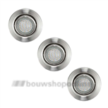 LED inbouwspots rond staal 3x 2.5W Eglo 13555