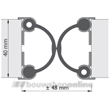 Alprokon deurnaaldprofielen 2x 2500 mm 4030 ZONDER RUBBER