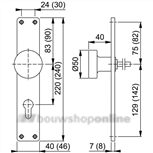 Hoppe langknopschild rechthoekig zonder sleutelgat 58/202ug F-1