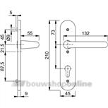 Hoppe138L/3056rf deurkruk op schild (ovaal) zonder sleutelgat F-1