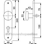 Hoppe knopschild (ovaal) zonder sleutelgat 53/273p F-1