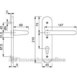 Hoppe 1138/3056rf deurkruk op schild (ovaal) cilindergat 55 mm F-1